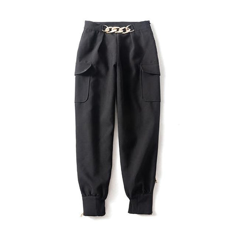 Chain-embellished Cargo Pants