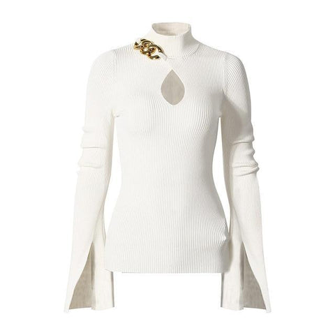 Chain Link Ribbed Knit Mock-neck Top