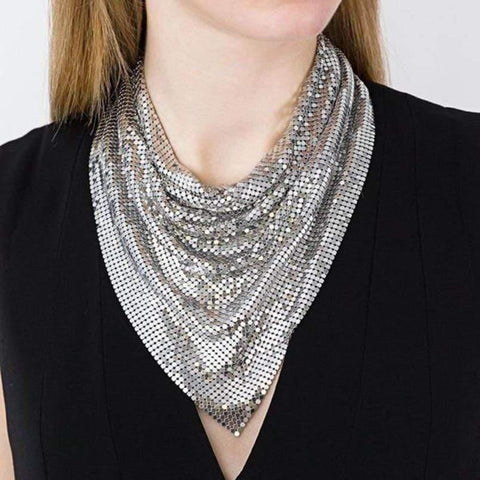 Chainmail Metal Mesh Scarf Necklace