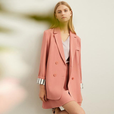 coral pink monochrome suiting