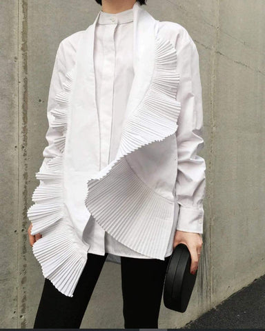 White Deconstructed Pleated Tuxedo Button Down