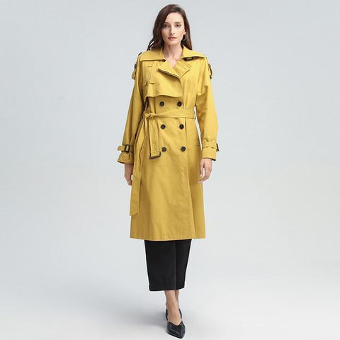 Double-Breasted Windbreaker Trench Coat | Saffron Yellow