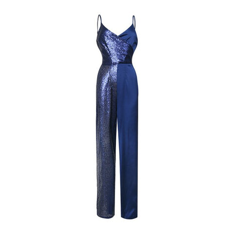 Classic blue colorblock sequin jumpsuit