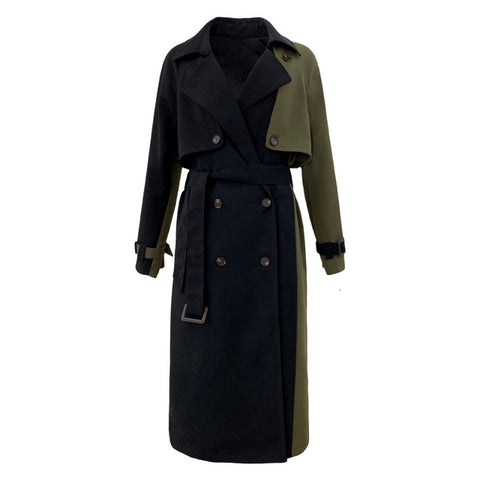 Color Block Patchwork Double-Breasted Belted Trench Coat Black and green khaki