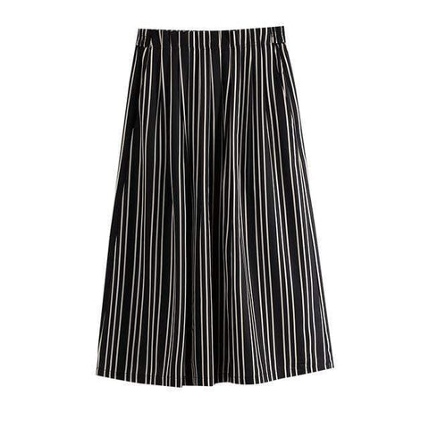 ELASTICIZED WAIST STRIPED MIDI SKIRT