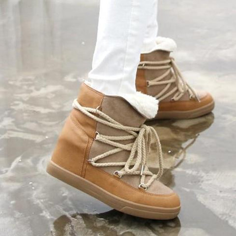 Faux Leather + Shearling Lined Lace-Up Wedge Snow Boots