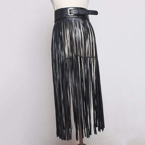 Faux Leather Tassel Fringe Belt Skirt