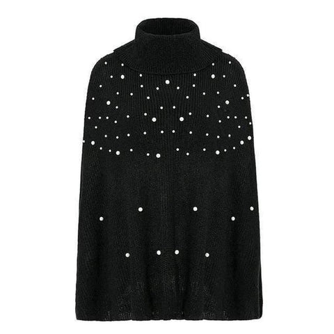 Faux Pearl Poncho Turtleneck Jumper Sweater