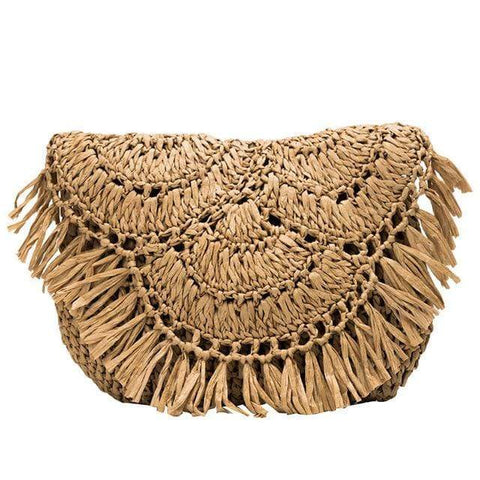 Fringed Woven Straw Clutch Bag