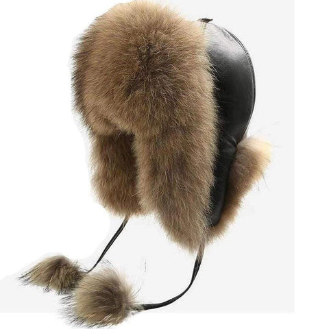 Fur + Leather Aviator Bomber Hat