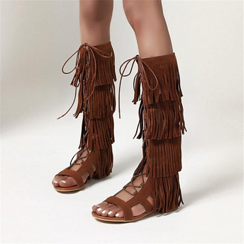 Gladiator Knee High Sandal Boots with Tassel Fringe