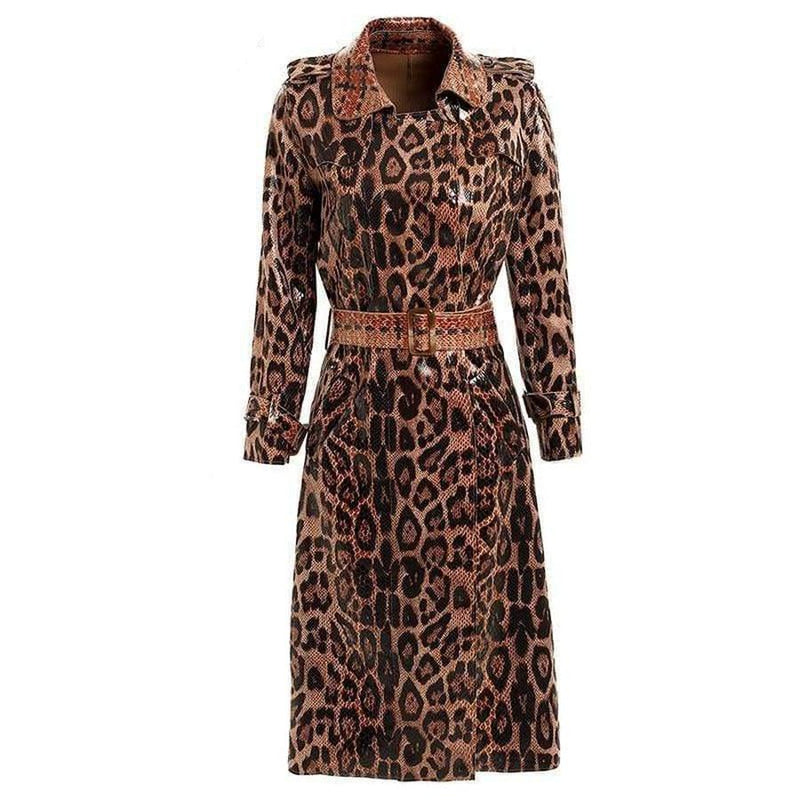 women's glossy snake print trench coat
