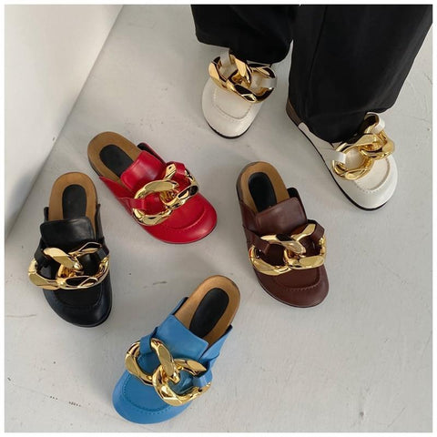 Gold Chain Slip On Loafer Mules