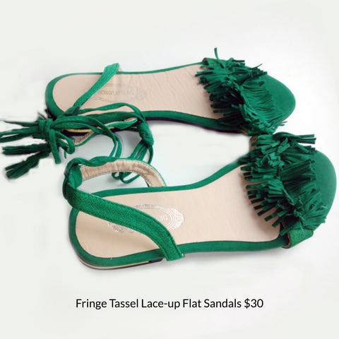 Fringe Tassel Lace-up Flat Sandals