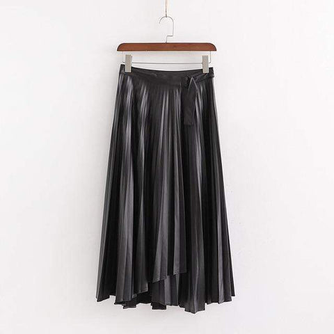 HIGH WAIST PLEATED FAUX LEATHER MIDI WRAP SKIRT