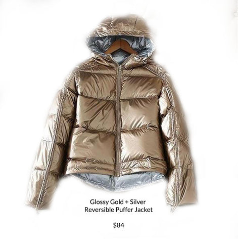 Glossy Gold + Silver Reversible Puffer Jacket