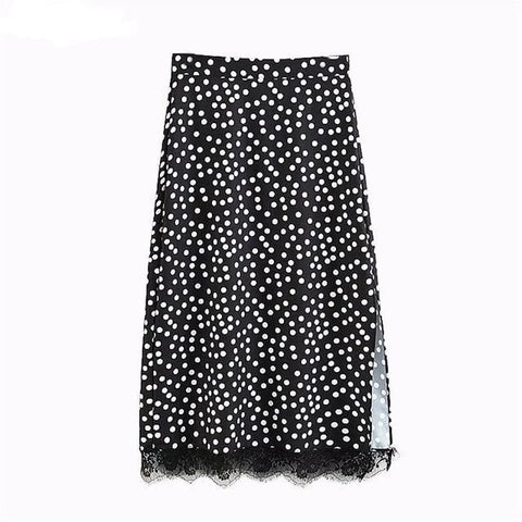 Lace trimmed polka dot mini skirt