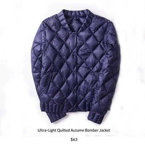 Ultra-Light Quilted Autumn Bomber Jacket