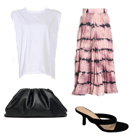 Women's muscle tee, tie-dye midi skirt, thong heel sandals, and pouch clutch.