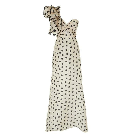 ONE-SHOULDER POLKA DOT RUFFLE DRESS