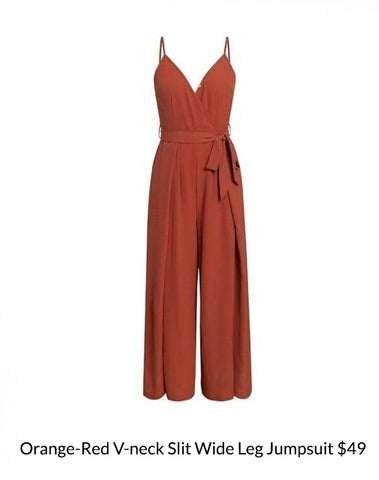 Orange-Red V-neck Slit Wide Leg Jumpsuit