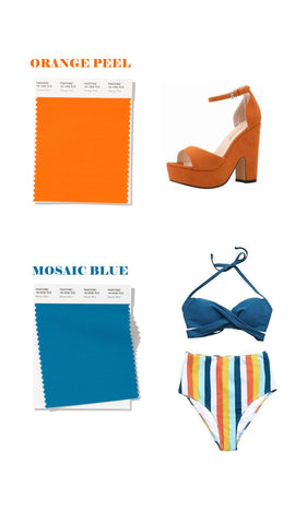 spring summer 2020 colors orange peel and mosaic blue