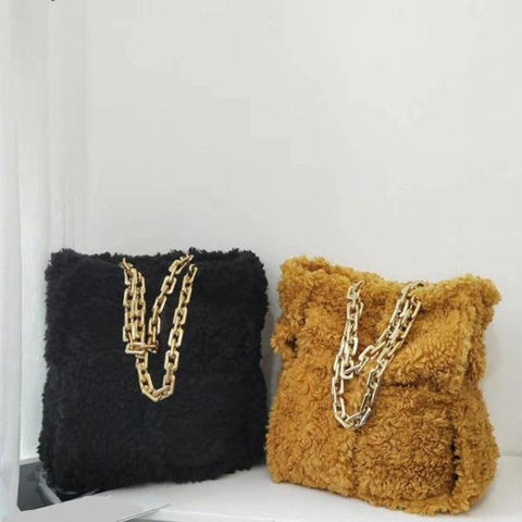 Patchwork Fuzzy Shearling + Chain Tote Bag