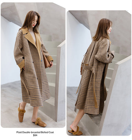 Plaid Double-breasted Belted Coat