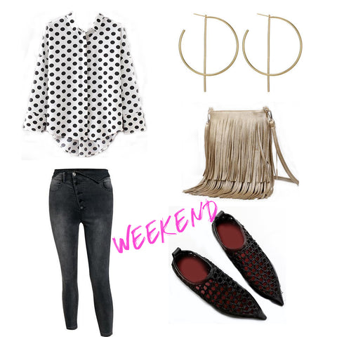 Black and white polka dot button down shirt gold fringe bag black button fly jeans woven hemp flats hoop earrings