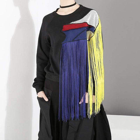 Primary Color Patchwork Mesh Sweatshirt Top with Tassel Fringe