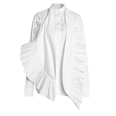 DECONSTRUCTED PLEATED TUXEDO BUTTON DOWN