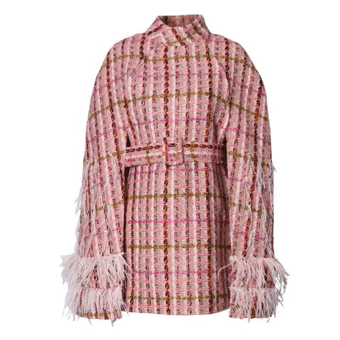 Pink Plaid Tweed + Feather Poncho Cape Coat
