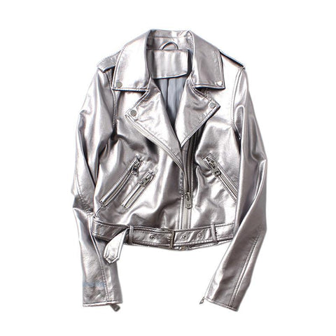 Cropped Silver Metallic Moto Jacket