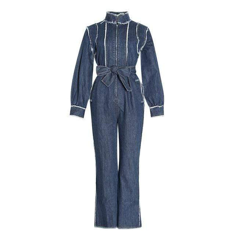 ZIP-UP RAW EDGE DENIM JUMPSUIT