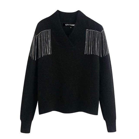 Silver Chain Tassel Fringe Black Sweater