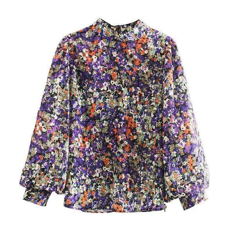 STAND COLLAR PUFF SLEEVE FLORAL BLOUSE