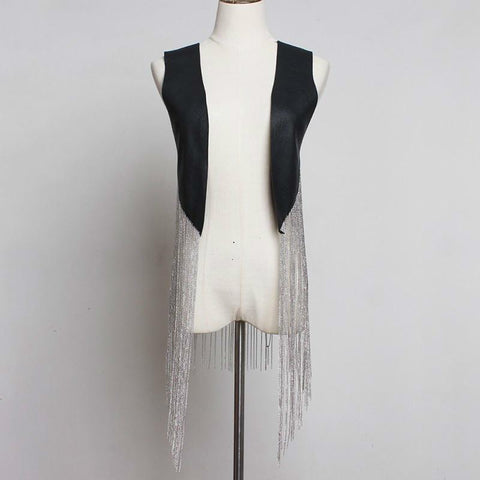Faux Leather Vest with Long Chain Tassel Fringe