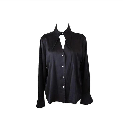 Black Extended Collar V Neck Blouse with Trumpet Sleeves