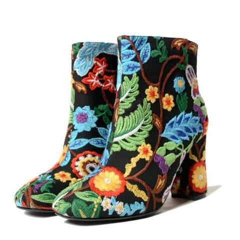 Boho Floral Embroidered Ankle Boots