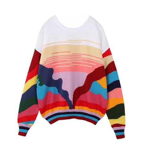 Colorful Striped Abstract Landscape Knitted Sweater