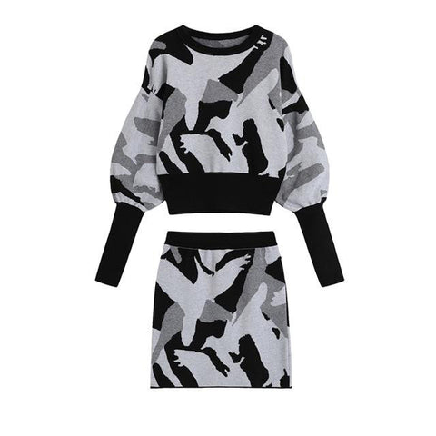 Two-piece Abstract Matching Sweater + Skirt Set