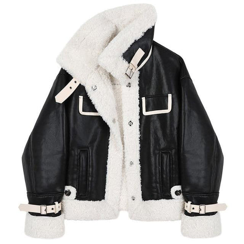 Faux Leather + Shearling Aviator Jacket