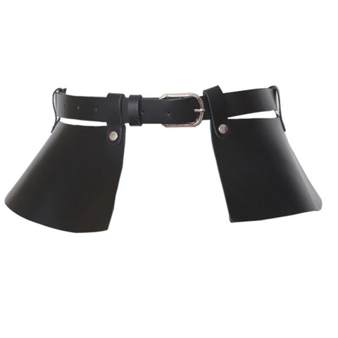 FAUX LEATHER PEPLUM CORSET BUCKLE BELT