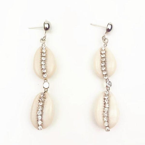 rhinestone studded cowrie shell earrings
