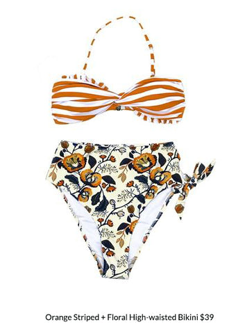 Orange Striped + Floral High-waisted Bikini
