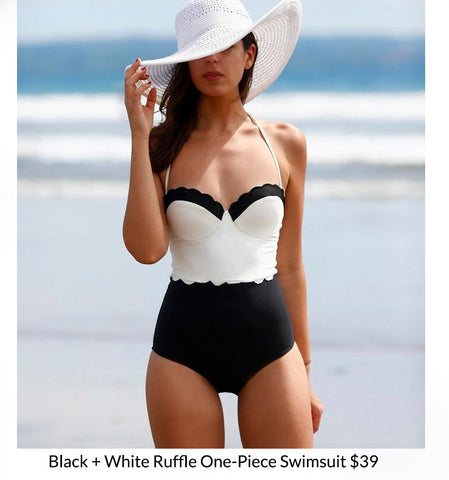 Black + White Ruffle One-Piece Swimsuit