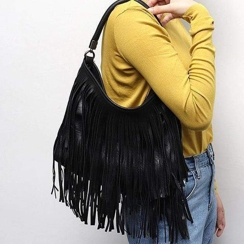 Fringe Tassel Women's Vegan Leather Crossbody Bag