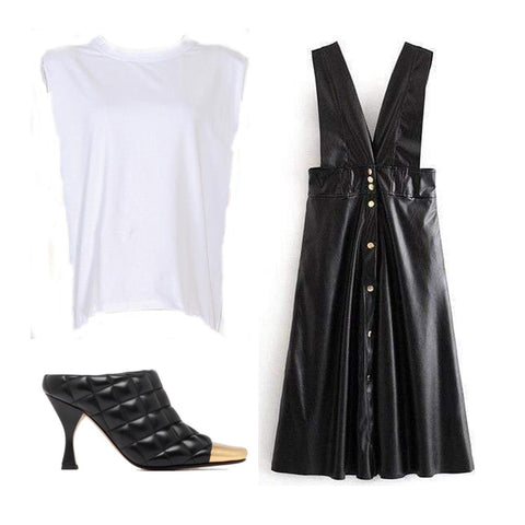 muscle tee, faux leather apron dress, quilted mules with gold square toe.