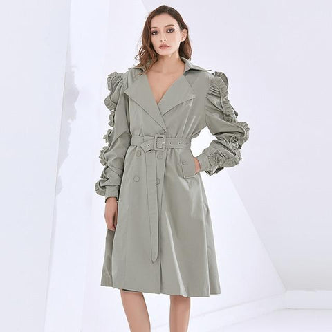 Ruched Sleeve Windbreaker Trench Coat