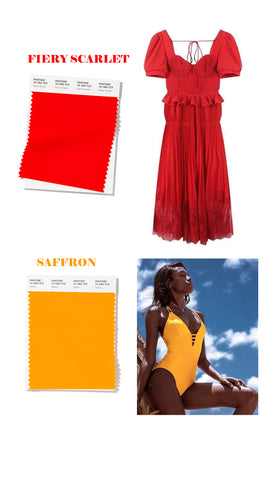 spring summer 2020 colors fiery scarlet and saffron yellow
